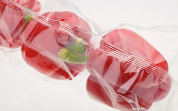 3 red bellpapers packaged in plastic sheet