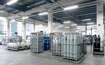 High purity argon cylinders. HIQ. ESG storage facility with cylinders in sectioned areas at Suzhou LLH China. Electronics
