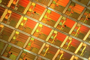 Semiconductor wafer, Close up.