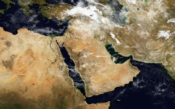 At the centre is the Arabian Peninsula, mainly comprising Saudi Arabia, bordered on the left by the Red Sea and on the right by the Persian Gulf and the Arabian Sea