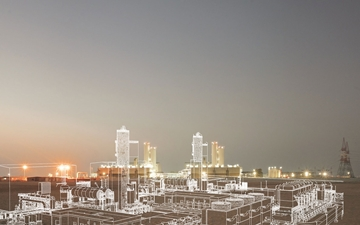 The background picture of LINDE PLANTSERV. The plant in Mirfa, Abu Dhabi is depicted.
