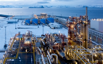 Europe's largest LNG plant build by Linde Engineering. Statoil LNG plant on the peninsula Melkoya, Hammerfest, northern Norway.